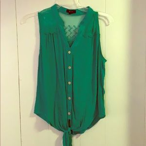 Green Front Tie Shirt with Sheer Portion Back